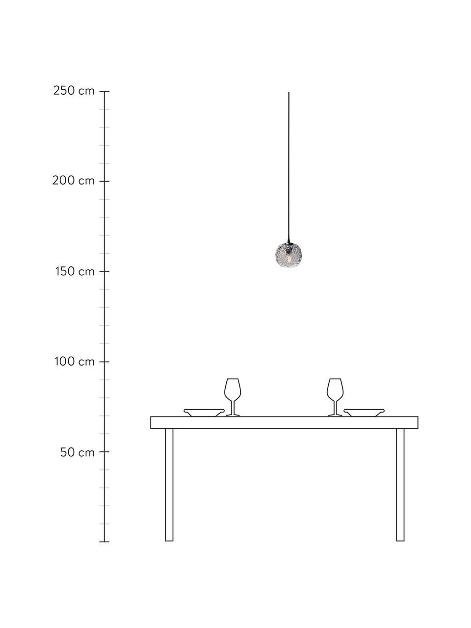 Kleine Pendelleuchte Grape aus mundgeblasenem Glas, Lampenschirm: Glas, mundgeblasen, Baldachin: Kunststoff, Transparent, Schwarz, Ø 15 x H 13 cm