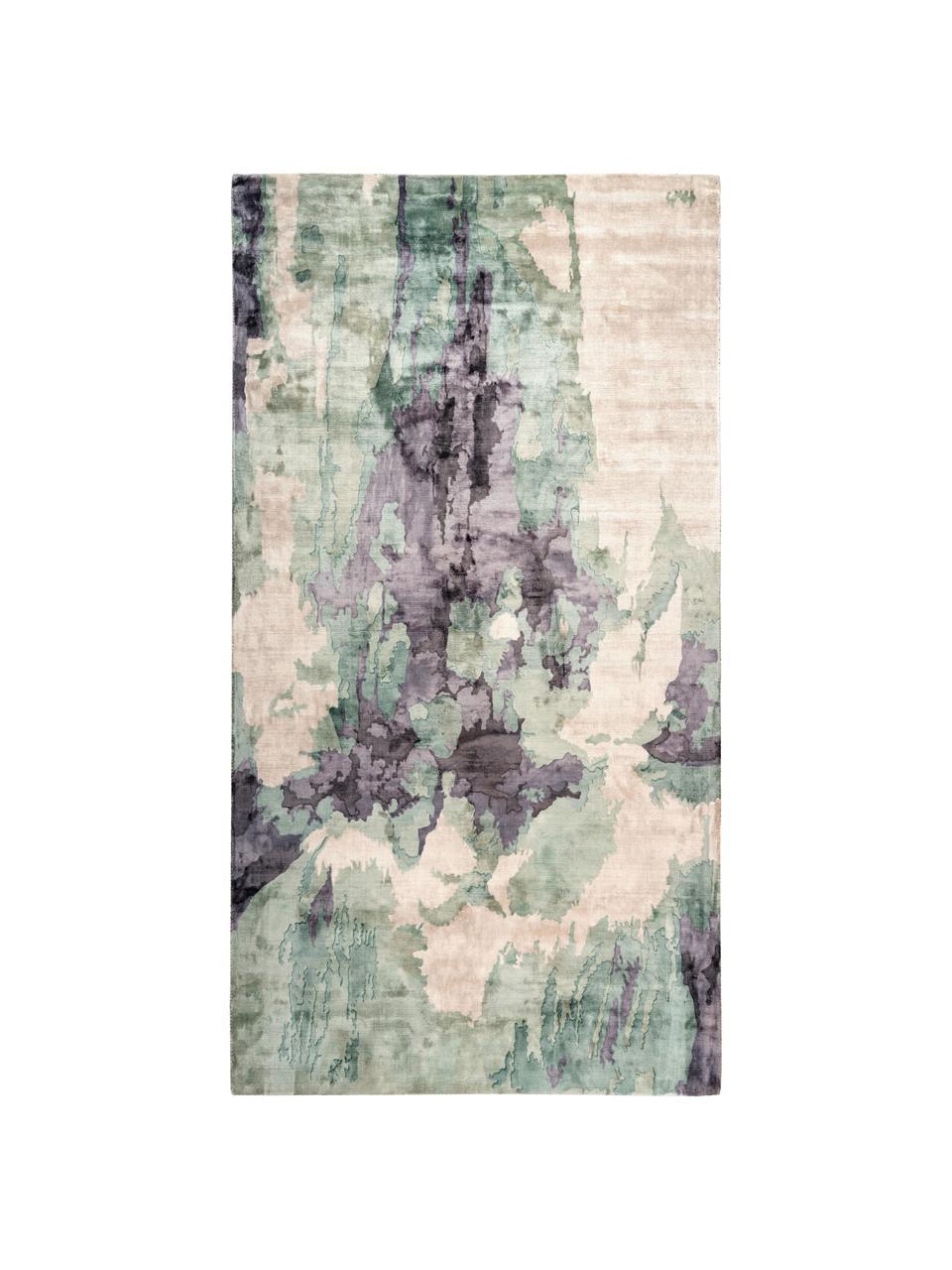 Viskosenteppich Malu mit abstraktem Muster, Flor: 100% Viskose, Beige, Grün, Grau, B 80 x L 150 cm (Größe XS)