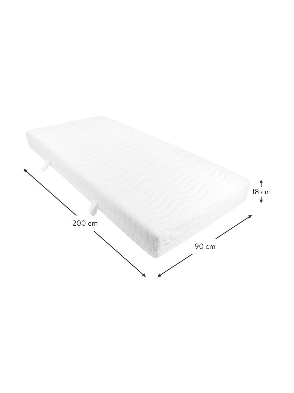 7-Zonen-Komfortschaummatratze Young, Bezug: Doppeltuch mit Glanzgarn , Weiß, 90 x 200 cm