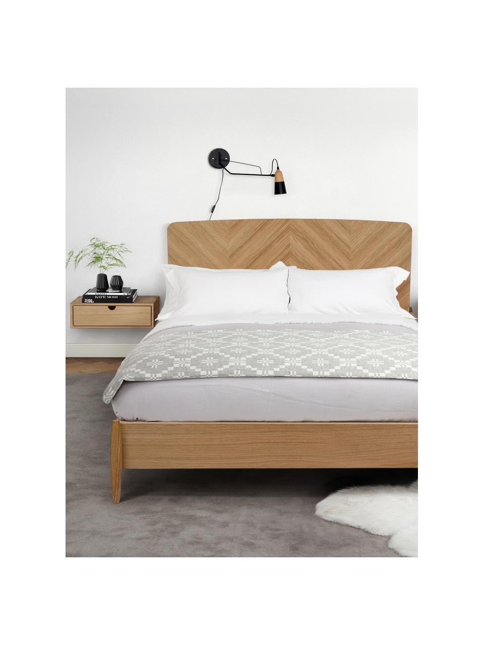 Comodino a muro con cassetto Farsta, Pannello di fibra a media densità con rivestimento in legno di quercia, Legno di quercia, Larg. 40 x Alt. 15 cm
