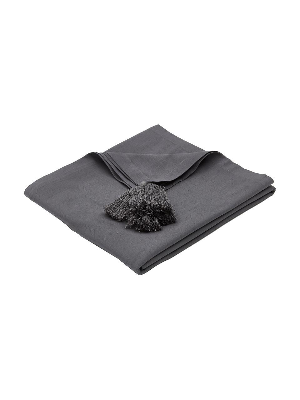 Tovaglia con nappe Benini, 85% cotone, 15% lino, Grigio scuro, Larg. 130 x Lung. 270 cm