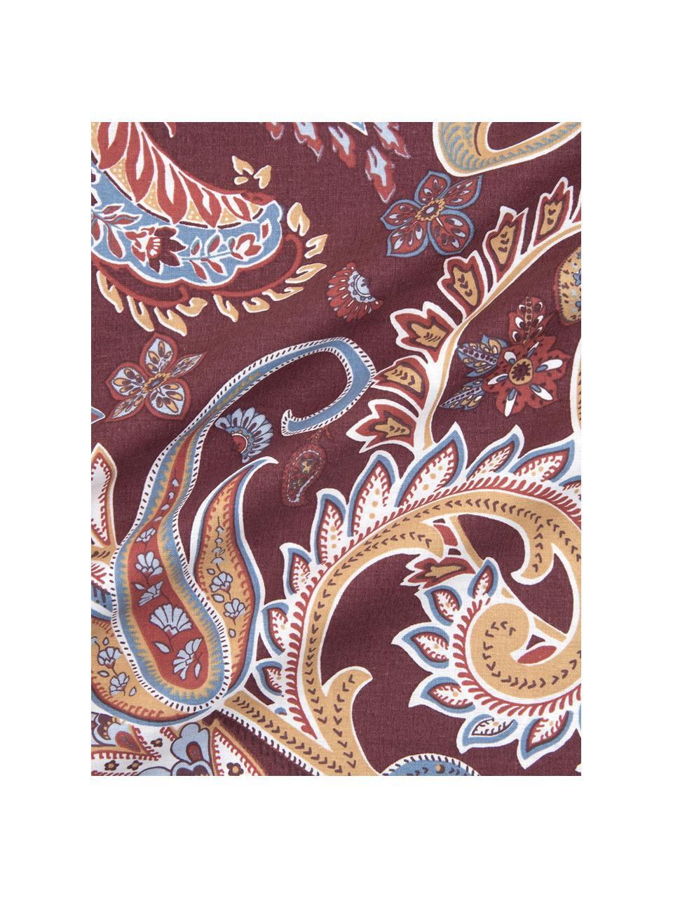 Baumwoll-Bettwäsche Liana in Bordeaux mit Paisley-Muster, Webart: Renforcé Fadendichte 144 , Bordeaux, 240 x 220 cm + 2 Kissen 80 x 80 cm