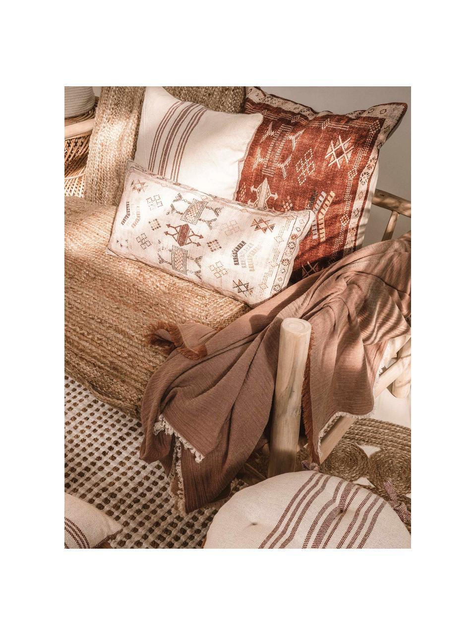 Poszewka na poduszkę Tanger, 100% bawełna, Beżowy, odcienie czerwonego, S 30 x D 60 cm