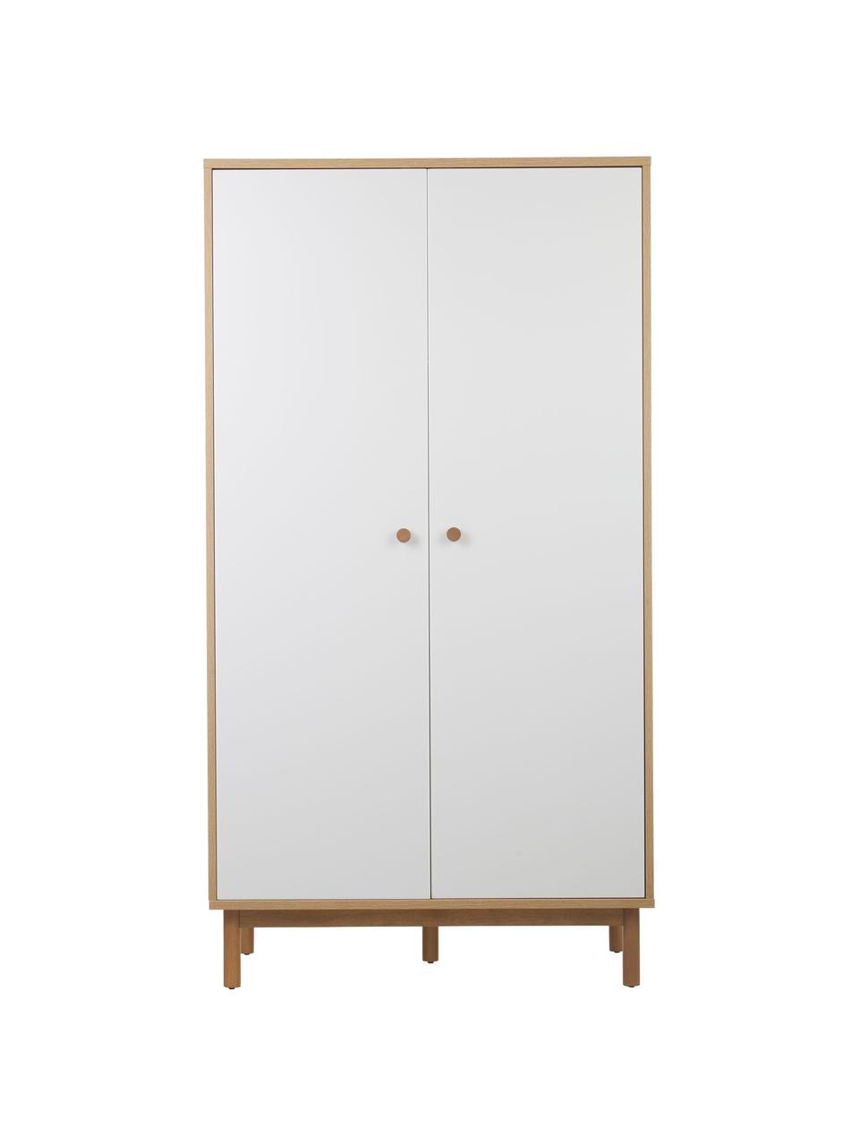 Kleiderschrank Nathan in Weiß, Korpus: Mitteldichte Holzfaserpla, Weiß, 100 x 186 cm