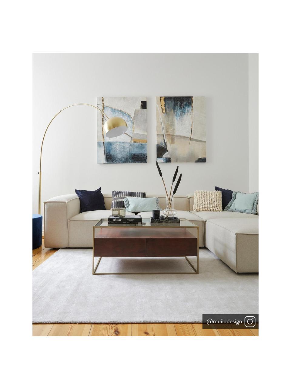 Lampa podłogowa w kształcie łuku Metal Bow, Stelaż: metal mosiądzowany, Odcienie mosiądzu, S 170 x W 205 cm