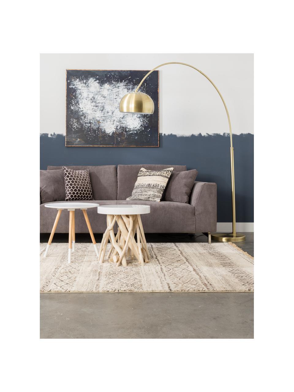 Große Bogenlampe Metal Bow in Messing, Lampenschirm: Metall, vermessingt, Gestell: Metall, vermessingt, Lampenfuß: Stein mit vermessingter M, Messingfarben, 170 x 205 cm