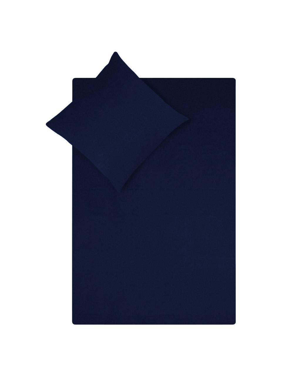 Pościel z satyny bawełnianej Comfort, Ciemny niebieski, 135 x 200 cm + 1 poduszka 80 x 80 cm