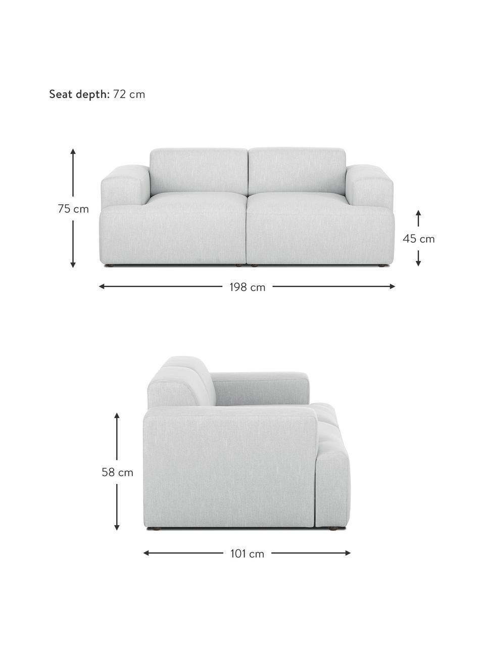 Sofa Melva (2-Sitzer) in Hellgrau, Bezug: 100% Polyester Der hochwe, Gestell: Massives Kiefernholz, FSC, Füße: Kunststoff, Webstoff Hellgrau, B 198 x T 101 cm