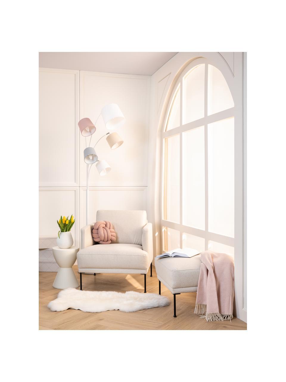 Tabouret/repose-pieds beige Fluente, Tissu beige