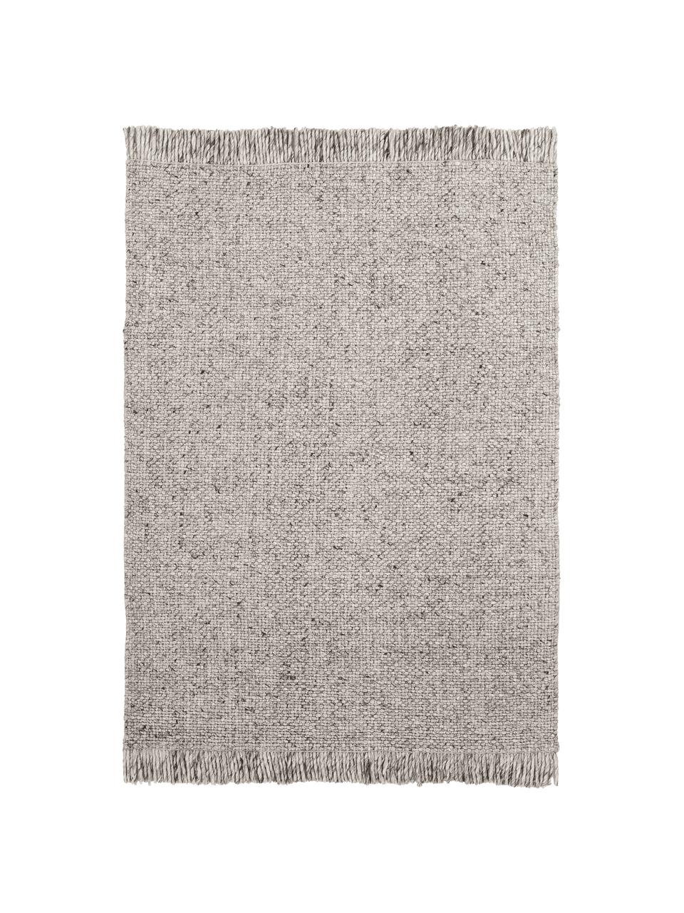 Ręcznie tkany dywan z wełny z frędzlami Alvin, Szary, melanżowy, S 120 x D 170 cm (Rozmiar S)