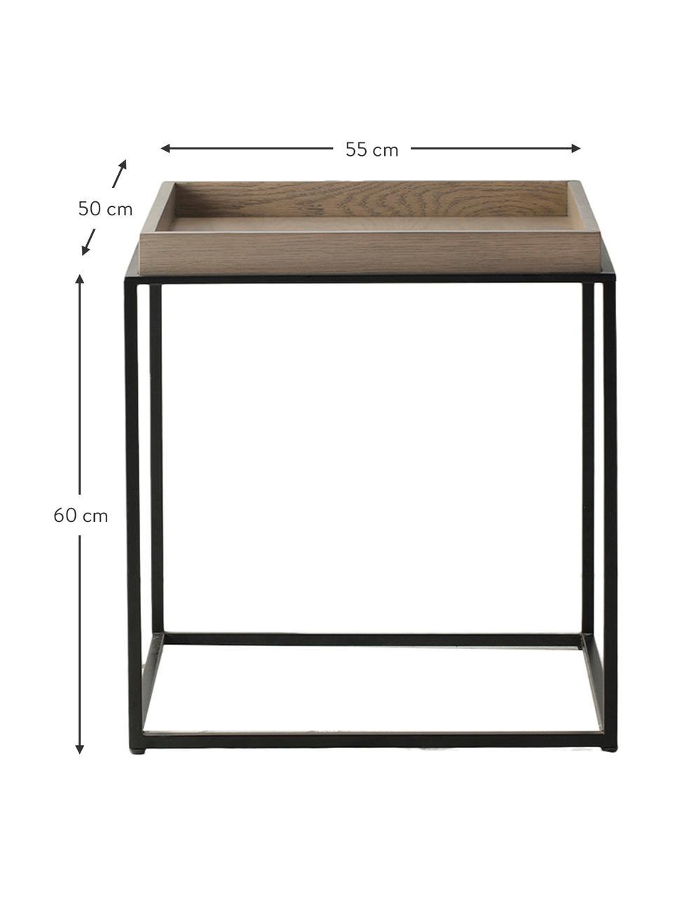Beistelltisch Forden aus Holz und Metall in Braun/Schwarz, Tischplatte: Mitteldichte Holzfaserpla, Gestell: Metall, lackiert, Braun, 55 x 60 cm