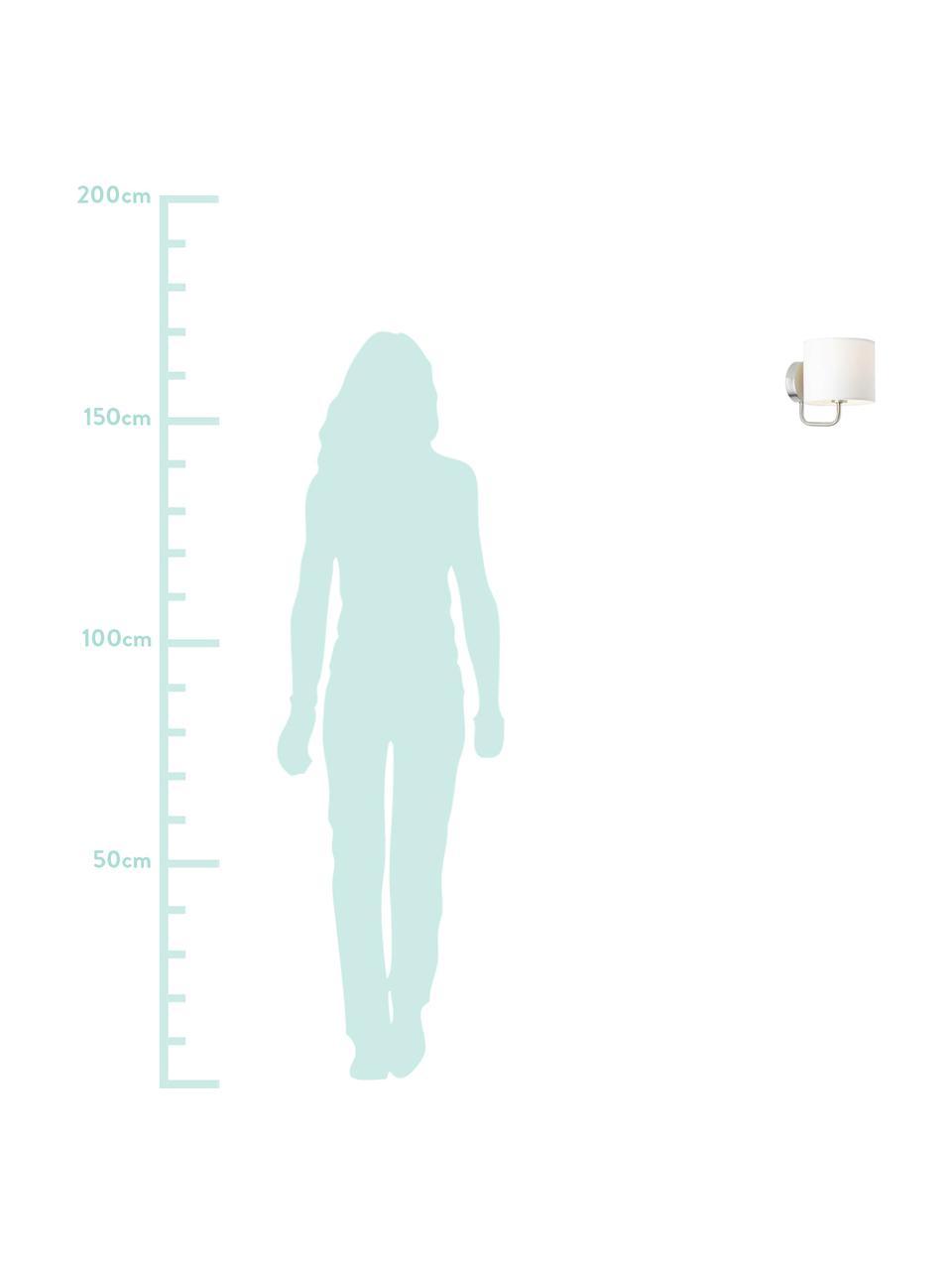 Applique cromo Clarie, Paralume: 60% cotone, 40% lino, Cromo, bianco, Larg. 15 x Alt. 18 cm