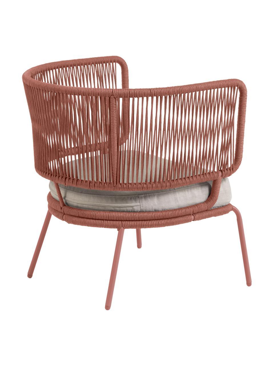 Garten-Loungesessel Nadin, Gestell: Metall, verzinkt und lack, Bezug: Polyester, Rosa, B 74 x T 65 cm