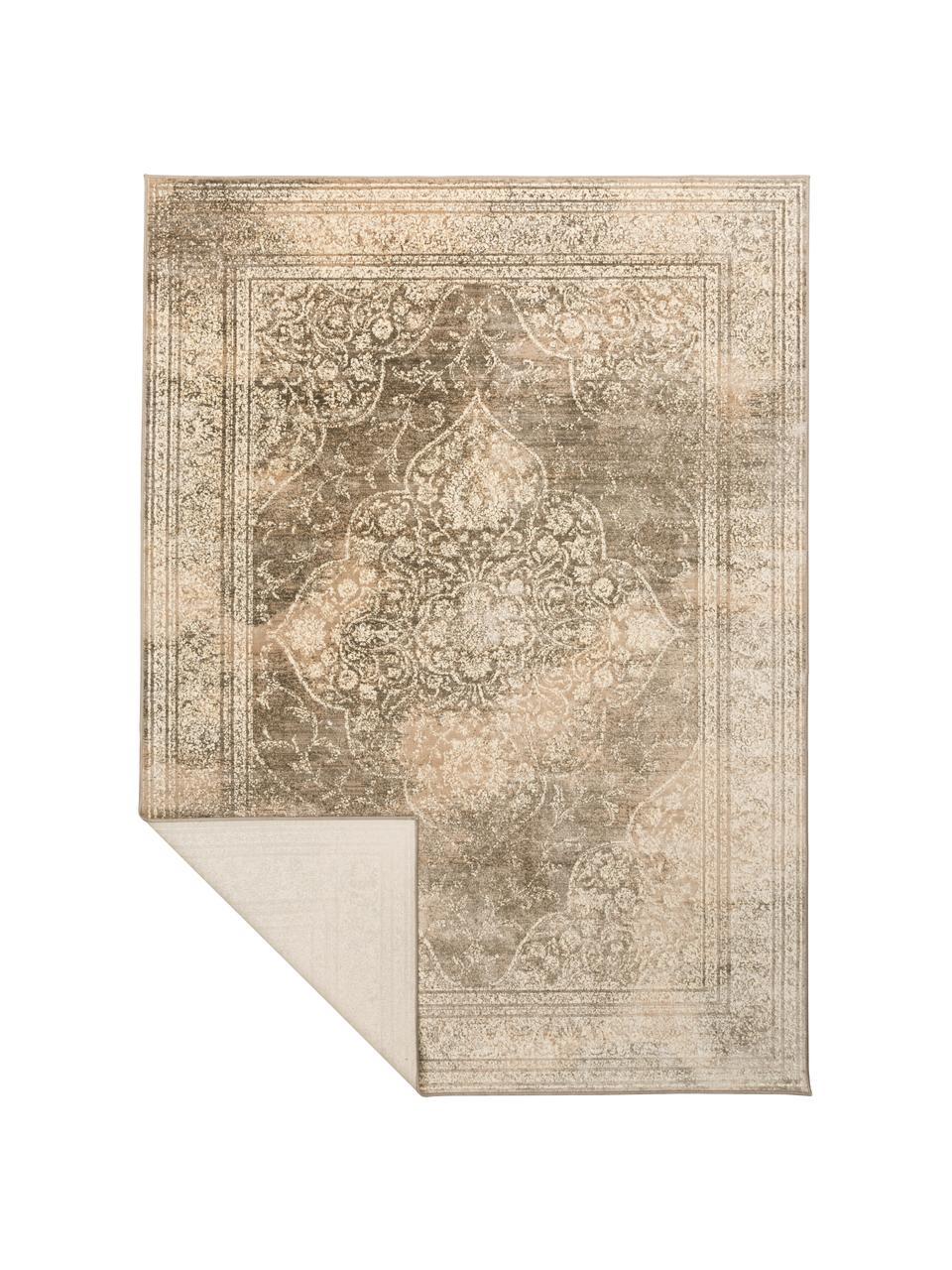 Vintage Teppich Rugged in Beigetönen, 66% Viskose, 25% Baumwolle, 9% Polyester, Beige, Braun, B 170 x L 240 cm (Größe M)