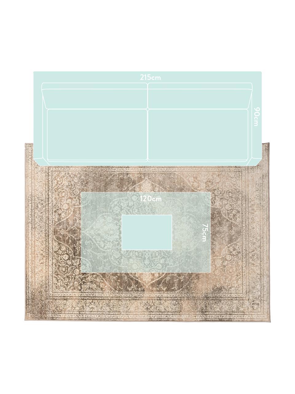 Tappeto vintage tonalità beige Rugged, 66% viscosa, 25% cotone, 9% poliestere, Beige, marrone, Larg. 200 x Lung. 300 cm (taglia L)