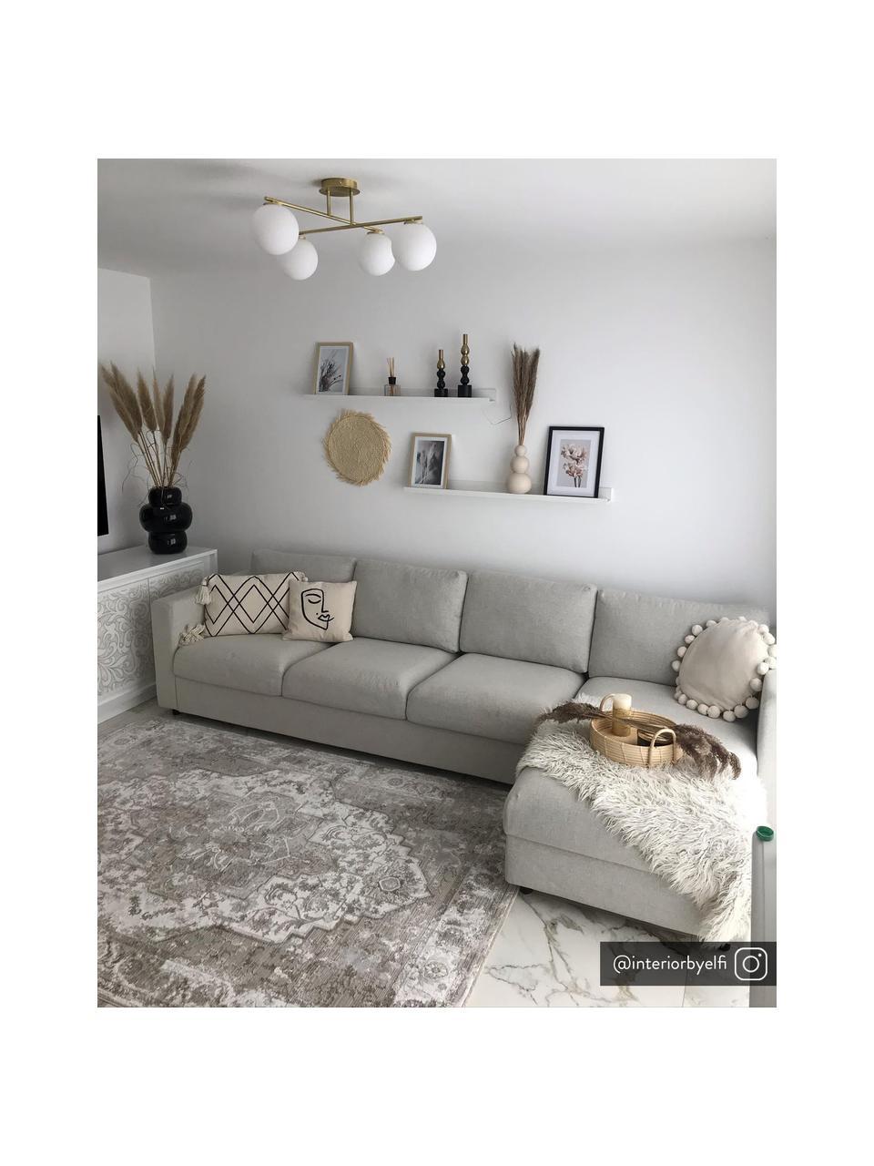 Lampa sufitowa ze szkła opalowego Atlanta, Biały, mosiądz, S 65 x W 30 cm