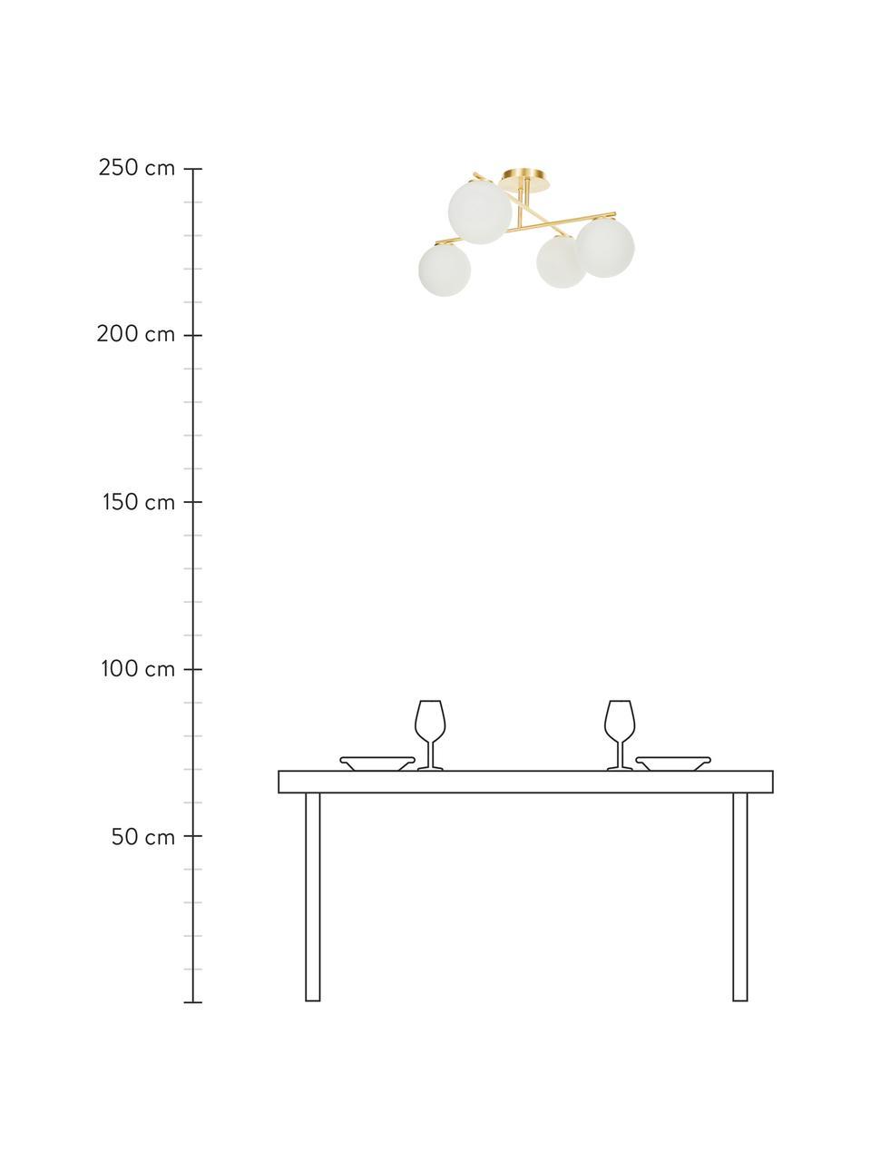 Plafondlamp Atlanta van opaalglas, Baldakijn: vermessingd metaal, Wit, messingkleurig, 65 x 30 cm
