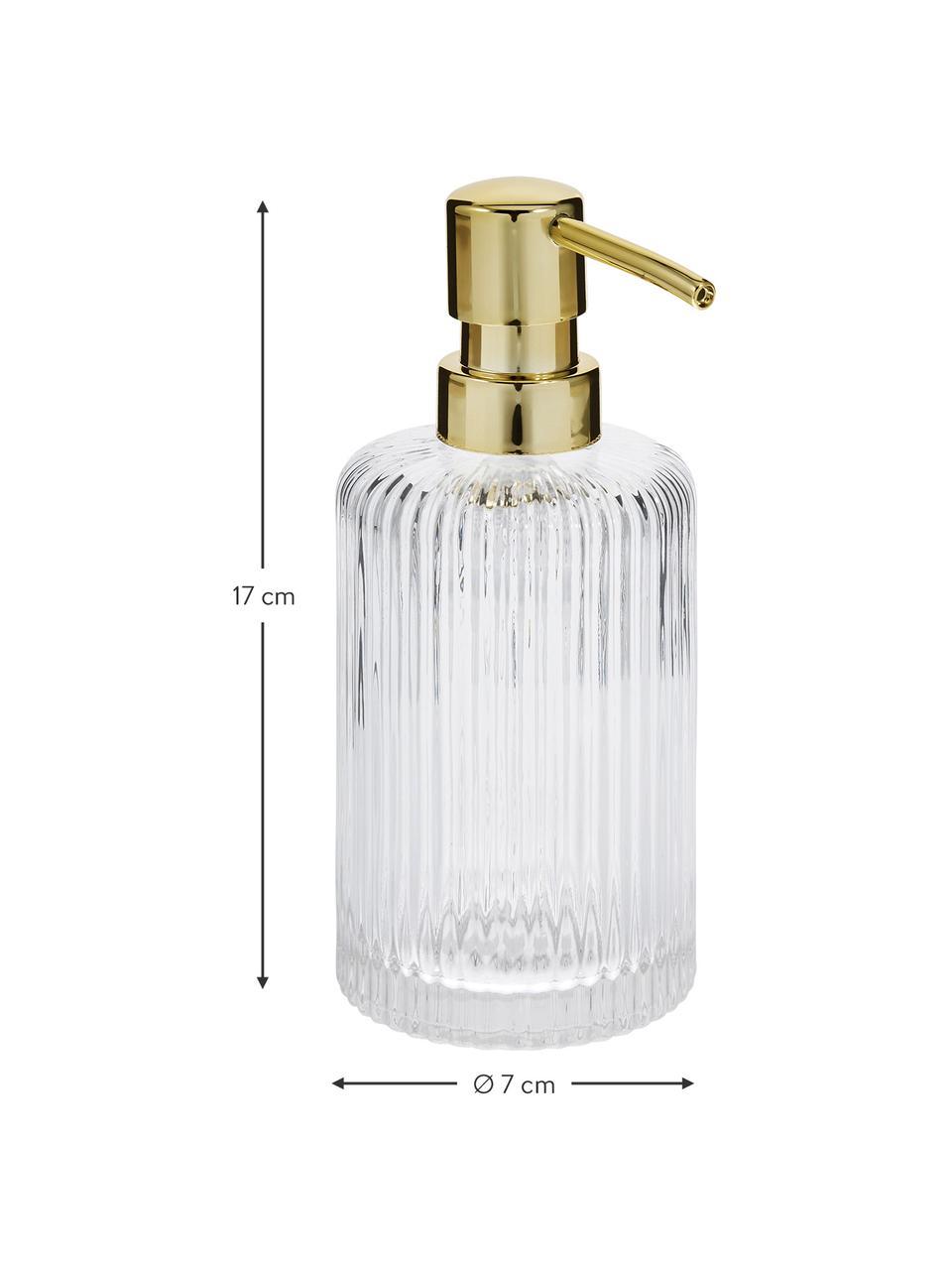 Dozownik do mydła ze szkła Gulji, Transparentny, odcienie złotego, Ø 7 x W 17 cm