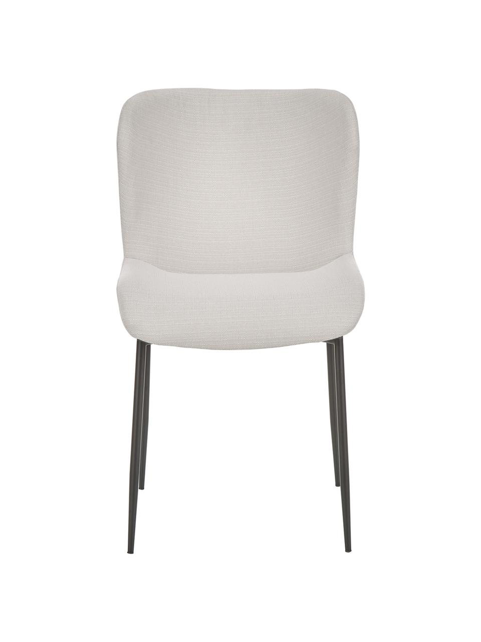 Krzesło tapicerowane Tess, Tapicerka: poliester Dzięki tkaninie, Nogi: metal malowany proszkowo, Kremowobiały, czarny, S 49 x G 64 cm