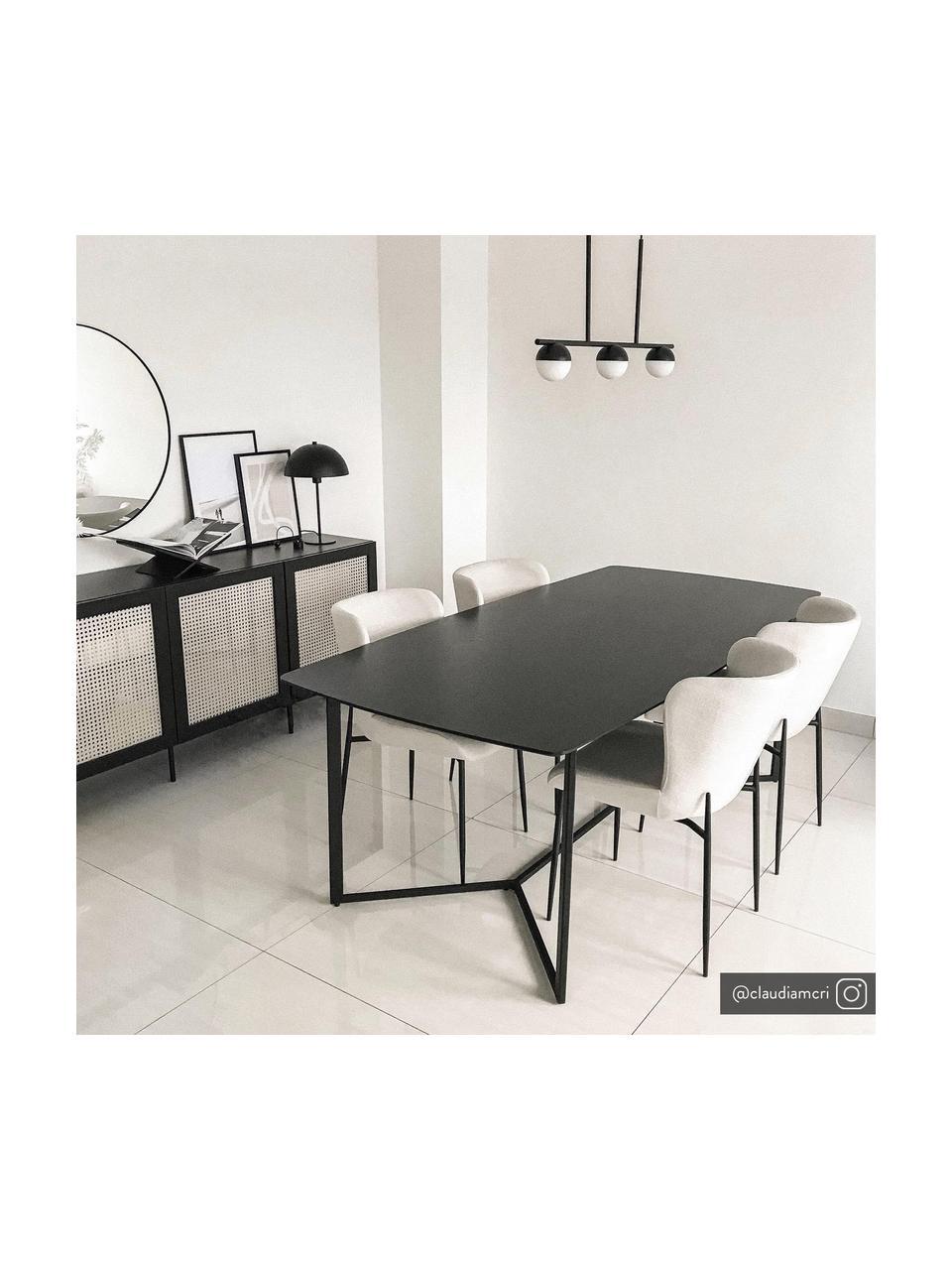 Gestoffeerde stoel Tess in crèmewit, Bekleding: polyester, Poten: gepoedercoat metaal, Geweven stof crèmewit, poten zwart, B 49 x D 64 cm