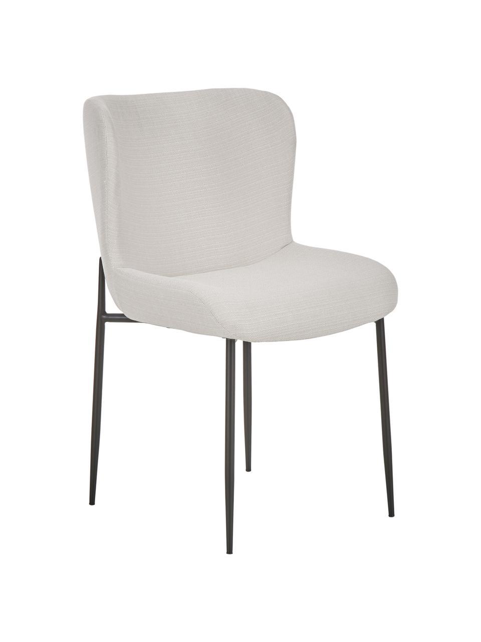 Chaise rembourrée design Tess, Tissu blanc crème, pieds noirs