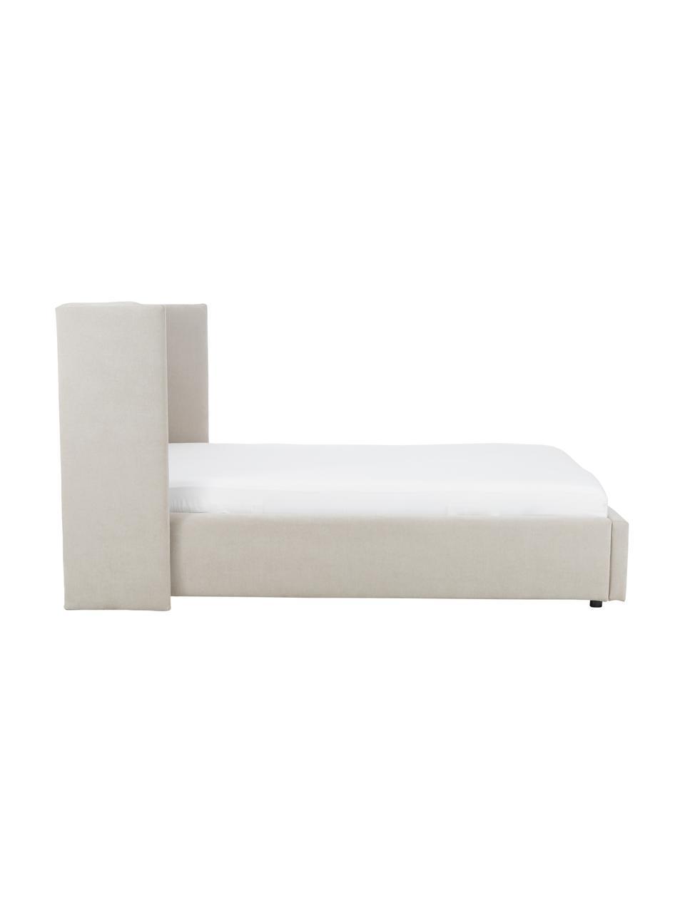 Gestoffeerd bed Star met opbergruimte in beige, Frame: massief grenenhout en pla, Bekleding: polyester (gestructureerd, Geweven stof beige, 180 x 200 cm