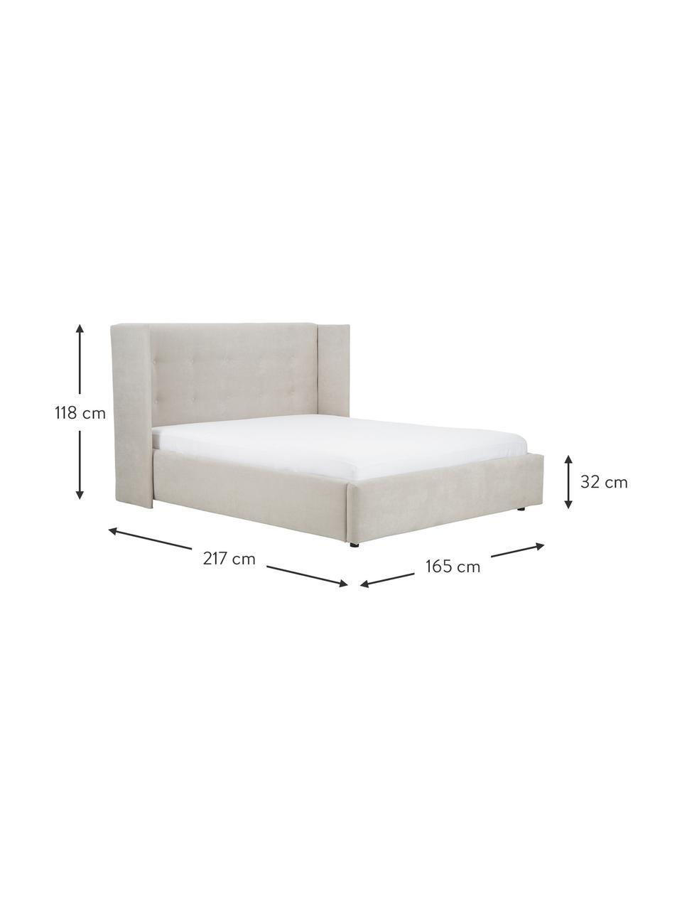 Gestoffeerd bed Star in beige, Frame: massief grenenhout en pla, Bekleding: polyester (gestructureerd, Geweven stof beige, 180 x 200 cm