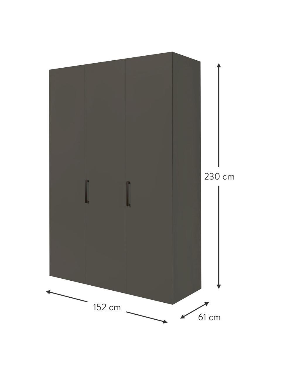 Kleiderschrank Madison 3-türig, inkl. Montageservice, Korpus: Holzwerkstoffplatten, lac, Grau, Ohne Spiegeltür, 152 x 230 cm