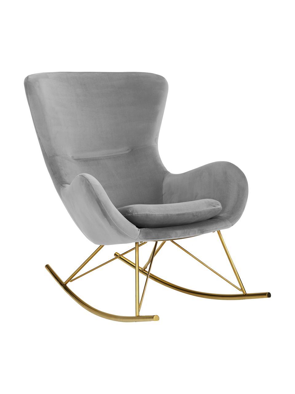 Fluwelen schommelstoel Wing in grijs, Bekleding: fluweel (polyester), Frame: gegalvaniseerd metaal, Fluweel grijs, goudkleurig, 66 x 102 cm