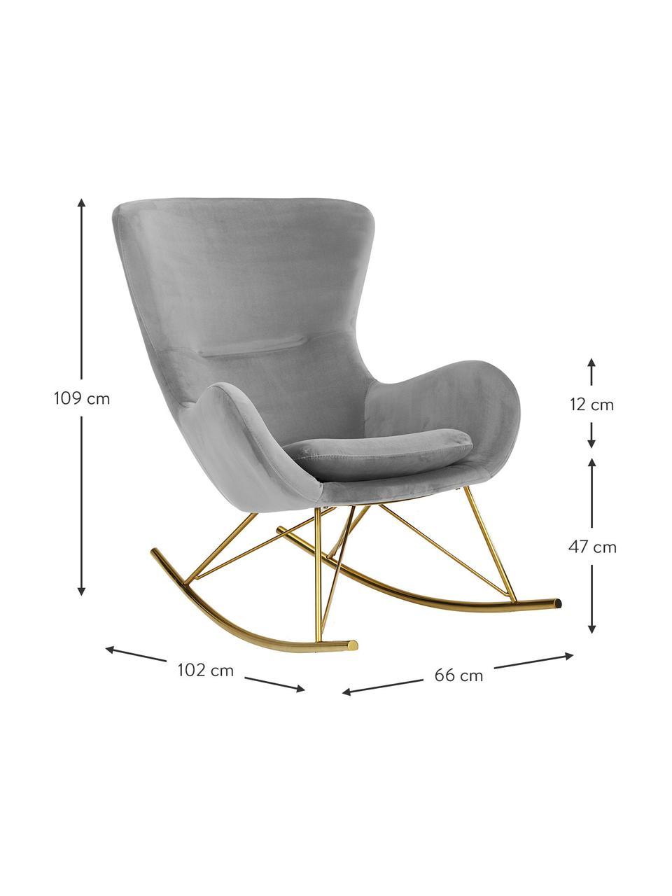 Sedia a dondolo in velluto grigio Wing, Rivestimento: velluto (poliestere) Con , Struttura: metallo zincato, Velluto grigio, dorato, Larg. 66 x Prof. 102 cm