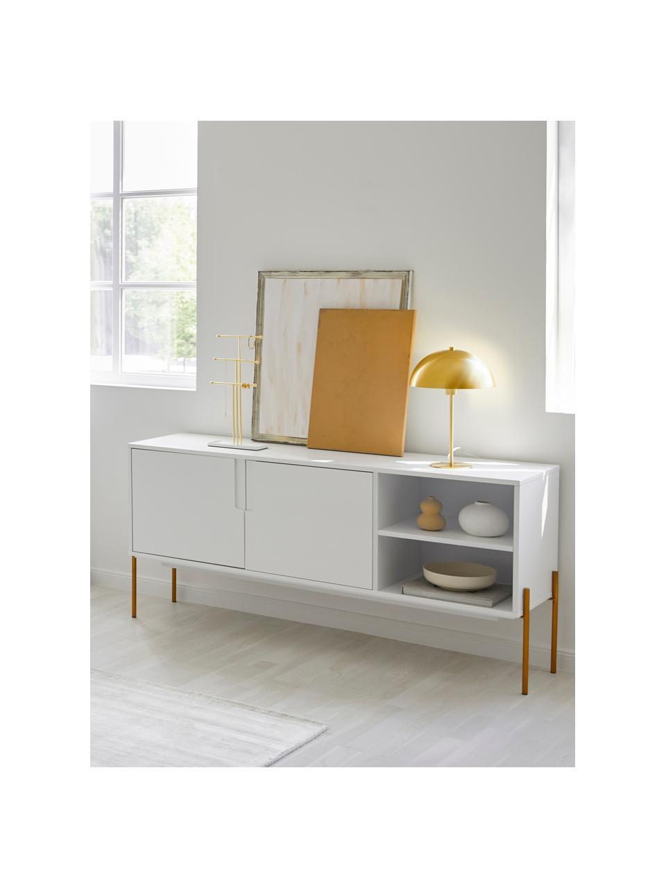 Sideboard Jesper mit Türen in Weiß, Korpus: Mitteldichte Holzfaserpla, Füße: Metall, lackiert, Korpus: Weiß Füße: Goldfarben, glänzend, 160 x 80 cm
