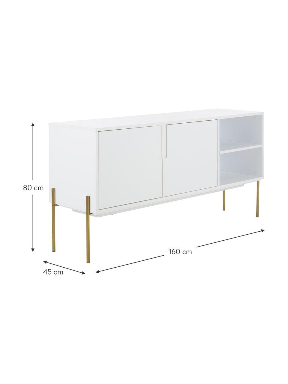 Sideboard Jesper mit Türen in Weiss, Korpus: Mitteldichte Holzfaserpla, Korpus: WeissFüsse: Goldfarben, glänzend, 160 x 80 cm