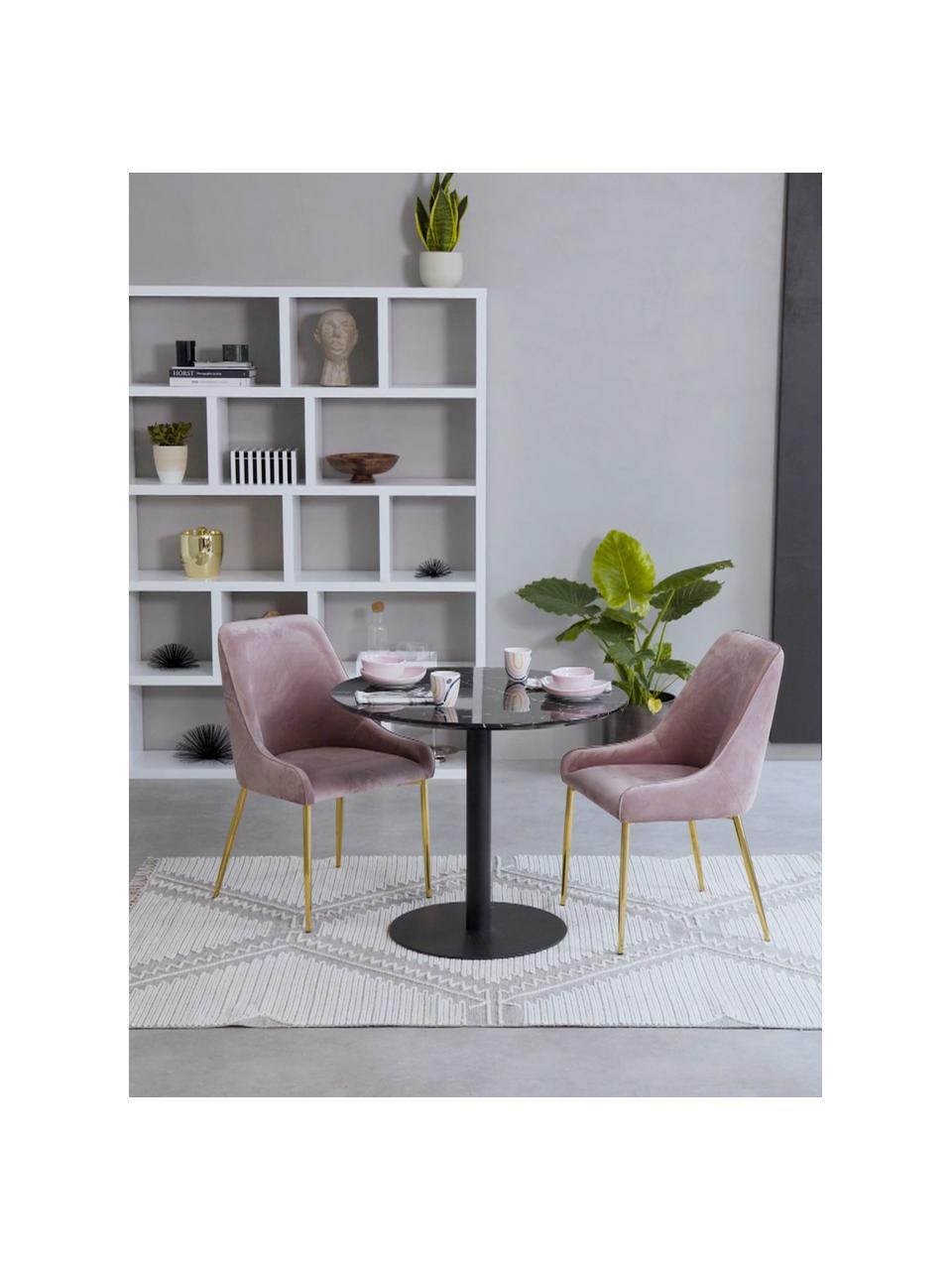 Samt-Polsterstuhl Ava in Rosa, Bezug: Samt (100% Polyester) Der, Beine: Metall, galvanisiert, Samt Mauve, B 53 x T 60 cm