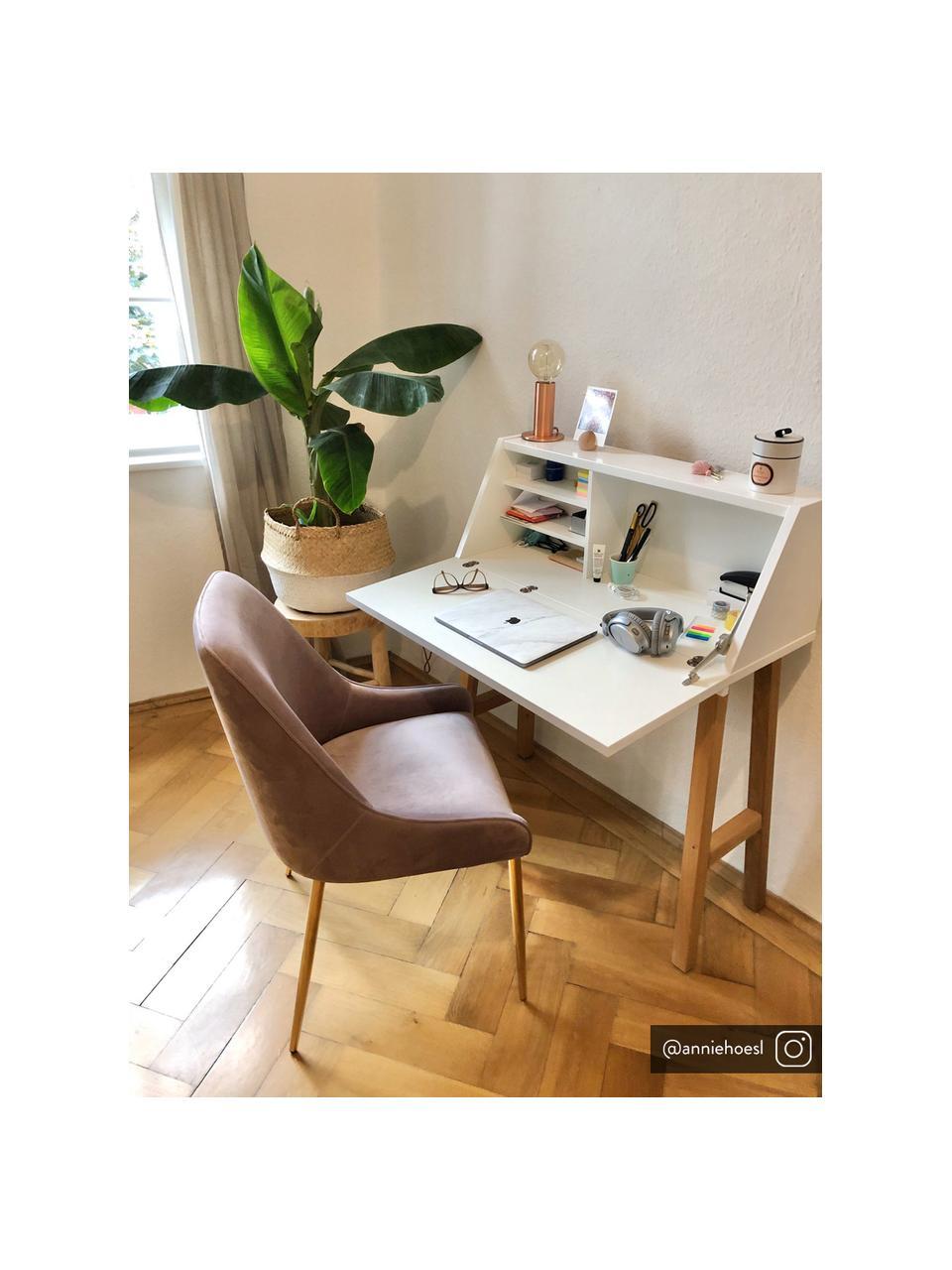 Krzesło tapicerowane z aksamitu Ava, Tapicerka: aksamit (100% poliester) , Nogi: metal galwanizowany, Aksamitny mauve, S 53 x G 60 cm