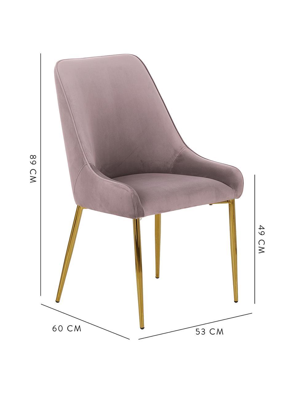 Fluwelen stoel Ava met goudkleurige poten, Bekleding: fluweel (100% polyester), Poten: gegalvaniseerd metaal, Fluweel mauve, B 55 x D 60 cm