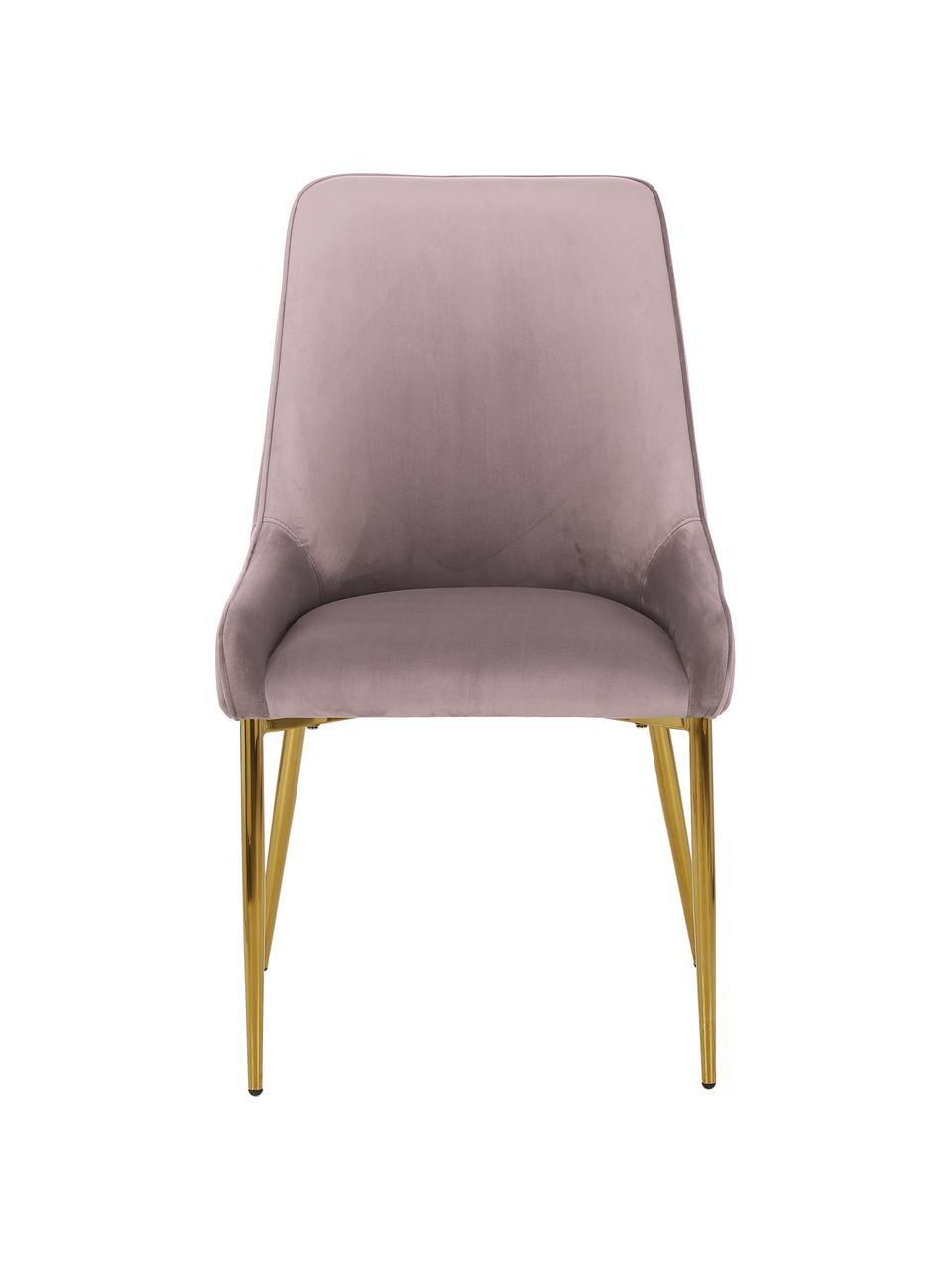 Sedia in velluto rosa Ava, Rivestimento: velluto (100% poliestere), Gambe: metallo zincato, Velluto malva, Larg. 53 x Alt. 60 cm
