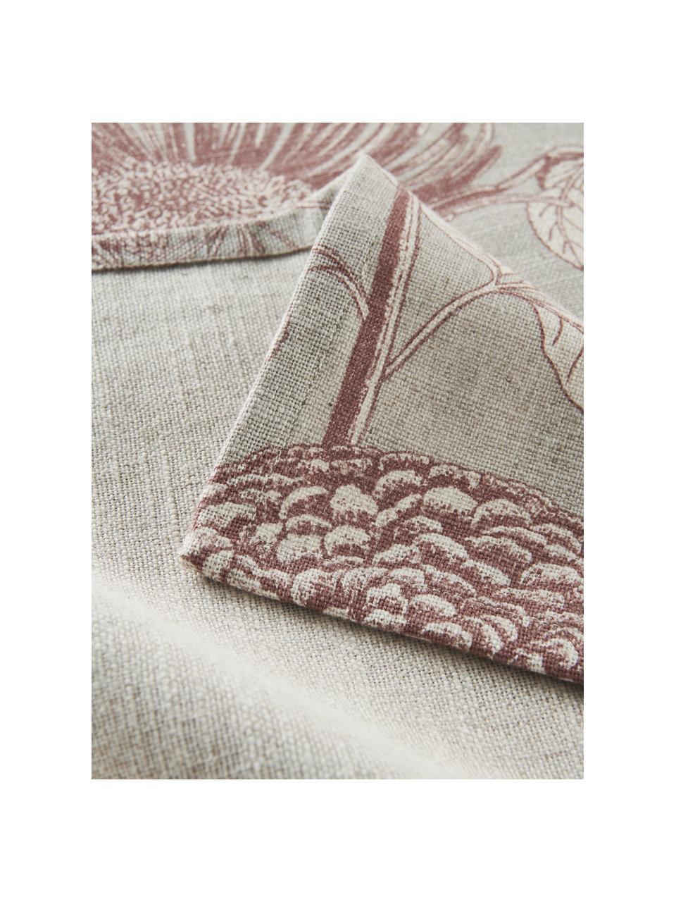 Baumwoll-Tischdecke Freya mit Blumenmotiv, 86% Baumwolle, 14% Leinen, Beige, Rot, Für 4 - 6 Personen (B 145 x L 200 cm)