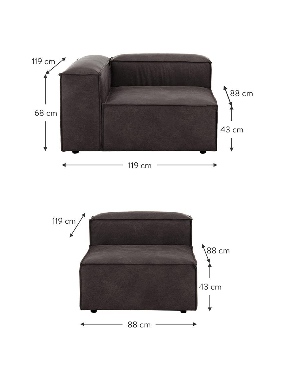 Modulares Sofa Lennon (4-Sitzer) in Braungrau aus recyceltem Leder, Bezug: Recyceltes Leder (70% Led, Gestell: Massives Kiefernholz, Spe, Füße: Kunststoff Die Füße befin, Leder Braungrau, B 327 x T 119 cm