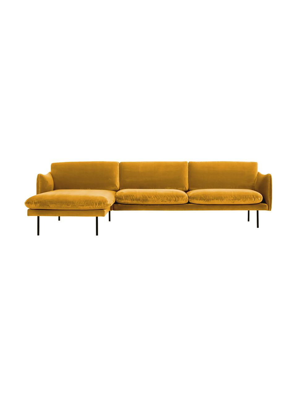 Canapé d'angle velours jaune moutarde pieds en métal Moby, Velours jaune moutarde