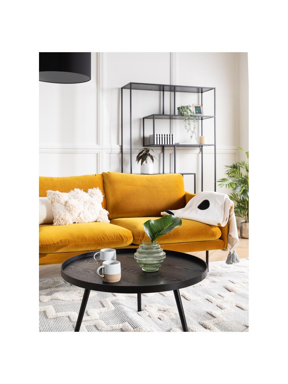 Divano angolare in velluto giallo senape Moby, Rivestimento: velluto (rivestimento in , Struttura: legno di pino massiccio, Velluto giallo senape, Larg. 280 x Prof. 160 cm