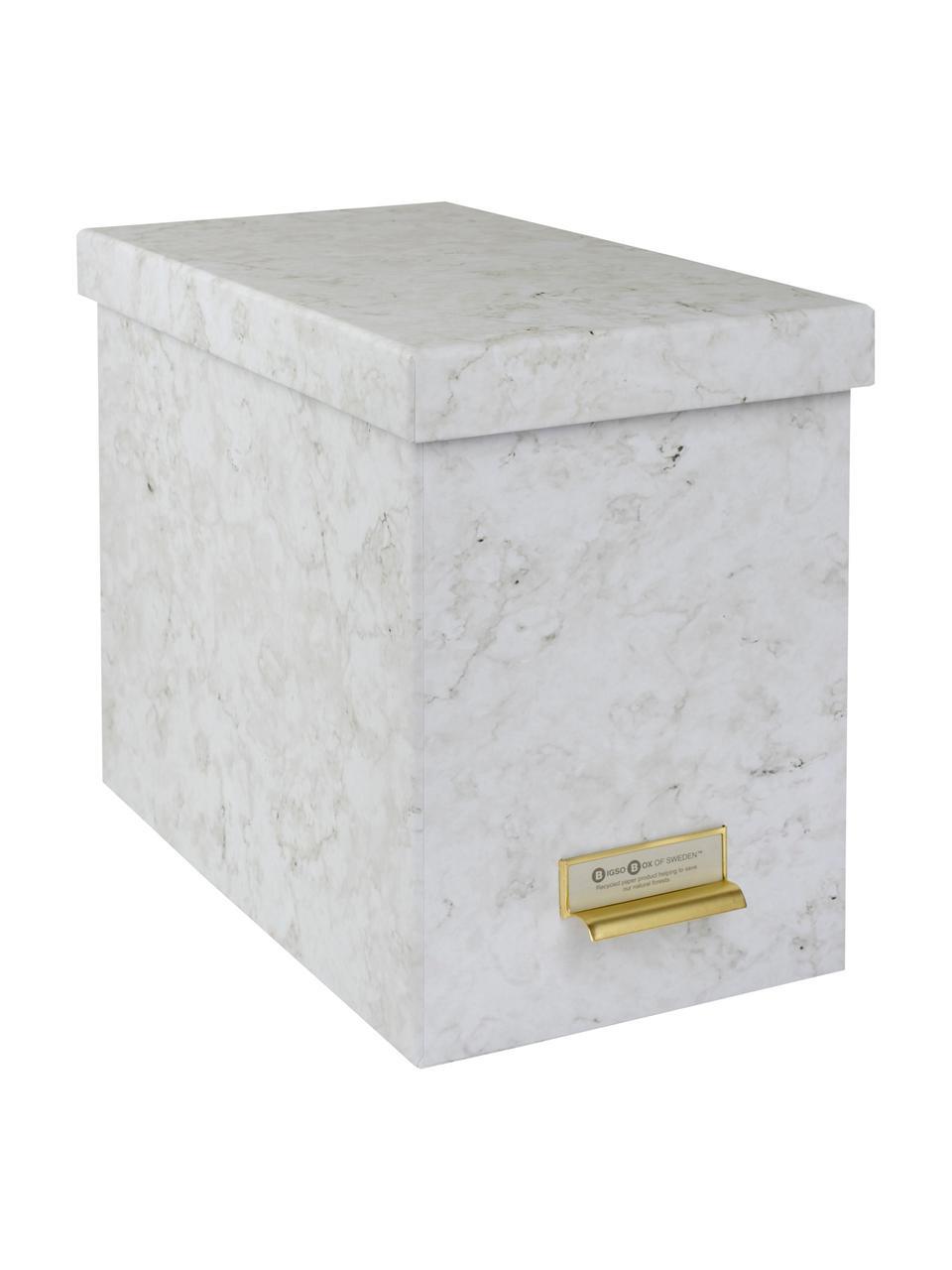 Hängeregister-Box Johan, 9-tlg., Organizer: Fester, laminierter Karto, Weiß, marmoriert, 19 x 27 cm