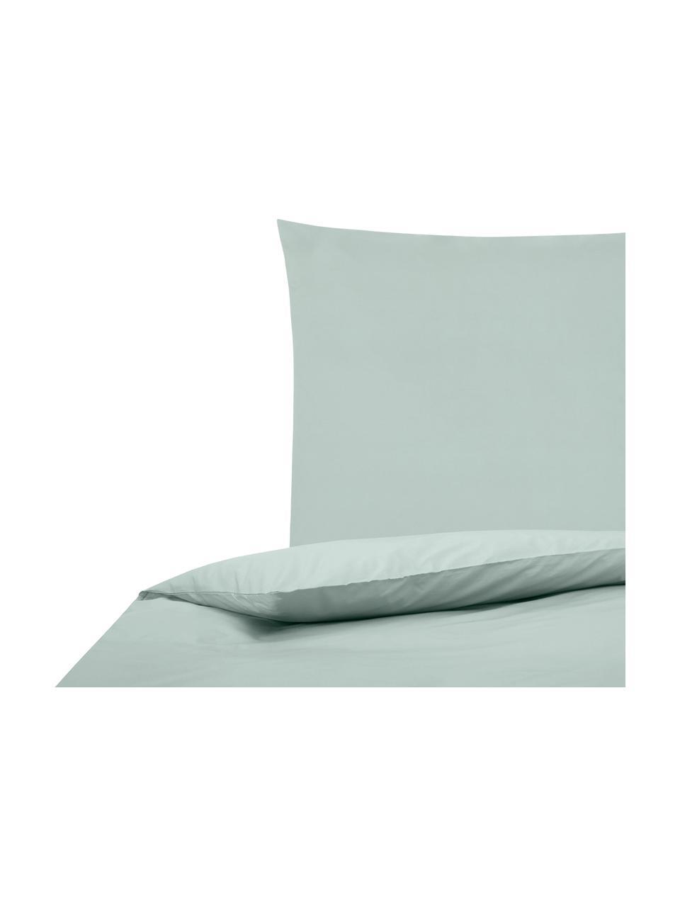 Parure copripiumino in percalle Elsie, Tessuto: percalle Densità del filo, Verde salvia, 255 x 200 cm