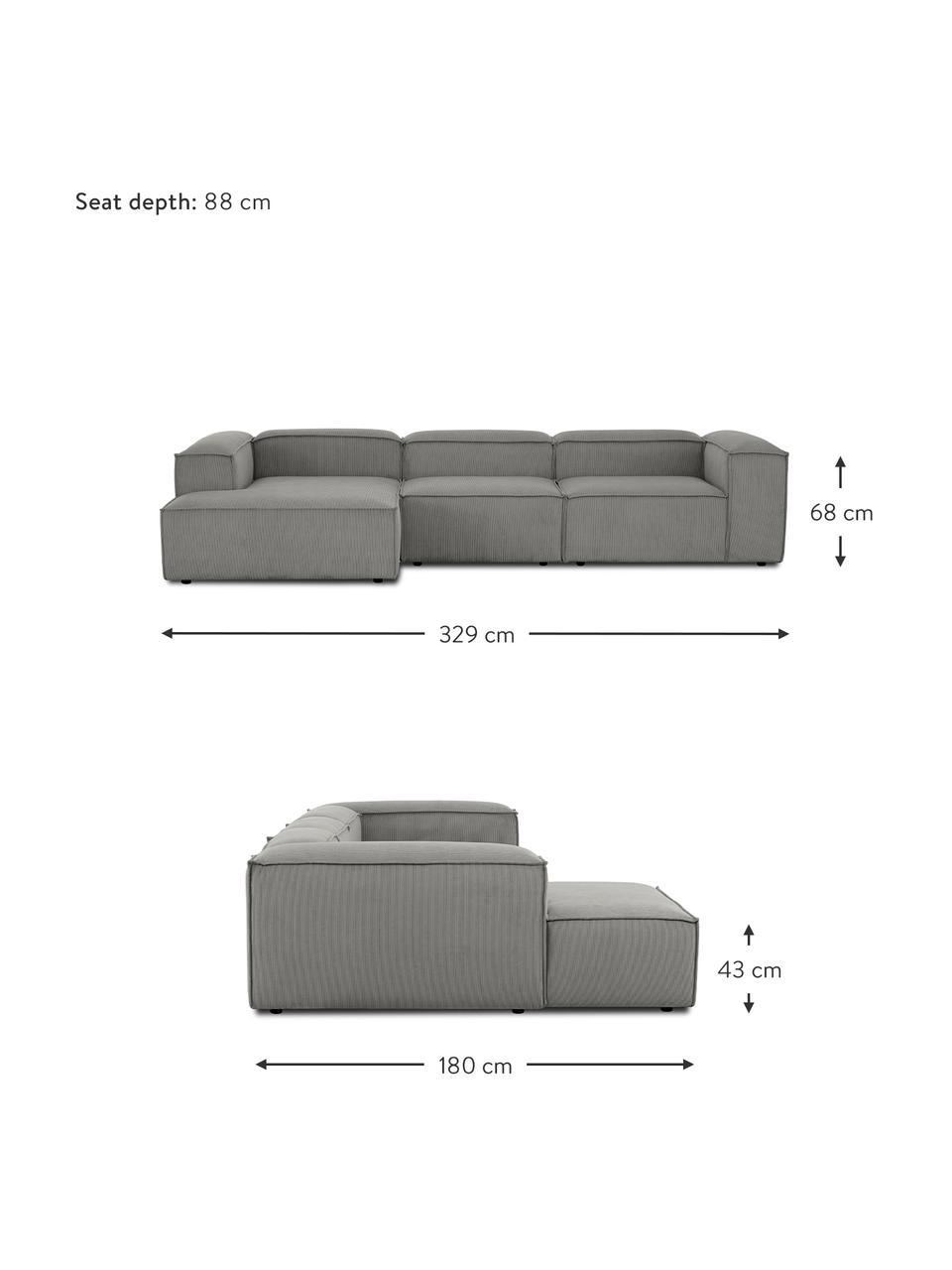 Narożna sofa modułowa ze sztruksu Lennon, Tapicerka: sztruks (92% poliester, 8, Stelaż: lite drewno sosnowe, skle, Nogi: tworzywo sztuczne Nogi zn, Sztruksowy szary, S 327 x G 180 cm