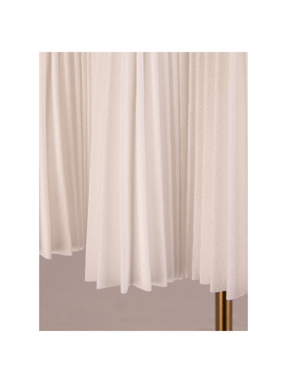 Lampada da tavolo in tessuto plissettato Edith, Paralume: cotone, Base della lampada: metallo, Bianco latteo, ottonato, Ø 20 x Alt. 50 cm