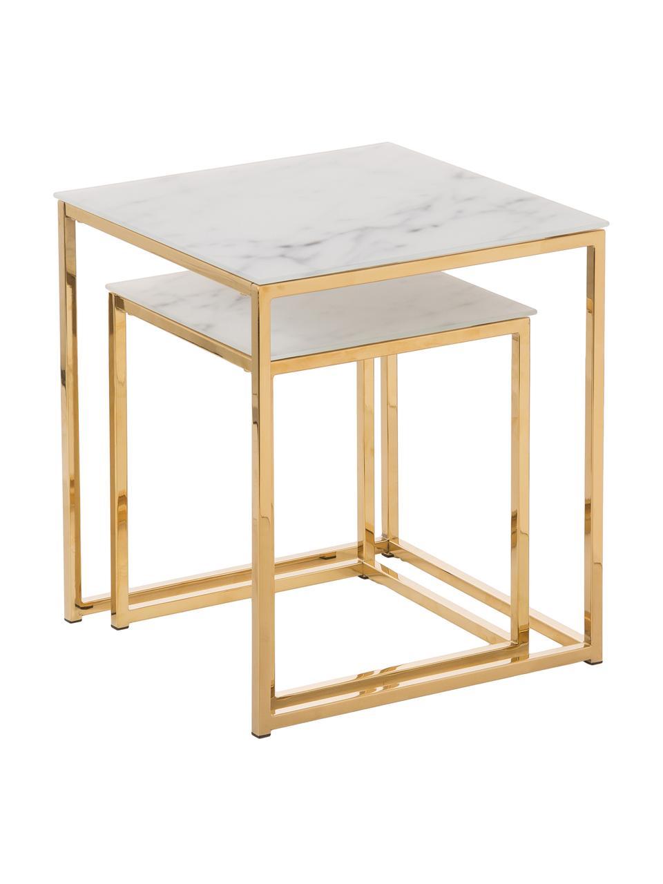 Tables gigognes glamour avec plateau en verre marbré Aruba, 2 élém., Plateau imprimé en verre: blanc mat, marbré Structure: couleur dorée