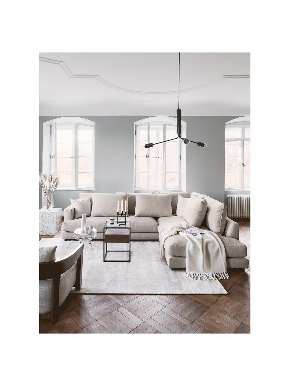 Grote hoekbank Tribeca  in donkerbeige, Bekleding: polyester, Frame: massief grenenhout, Poten: massief gelakt beukenhout, Stof donker beige, B 274 x D 192 cm