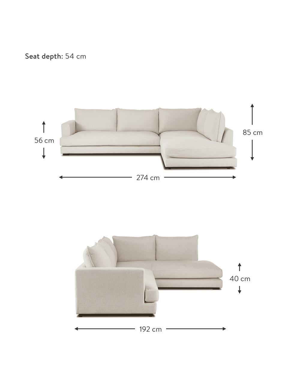 Grand canapé d'angle beige foncé Tribeca, Tissu beige foncé