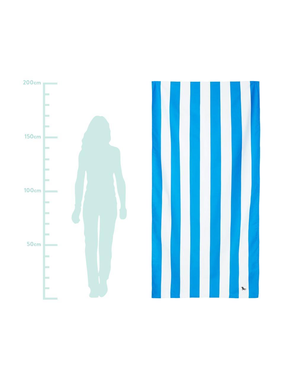 Telo mare in microfibra Cabana, asciugatura rapida, Microfibra (80% poliestere, 20% poliammide), Blu, bianco, Larg. 90 x Lung. 200 cm