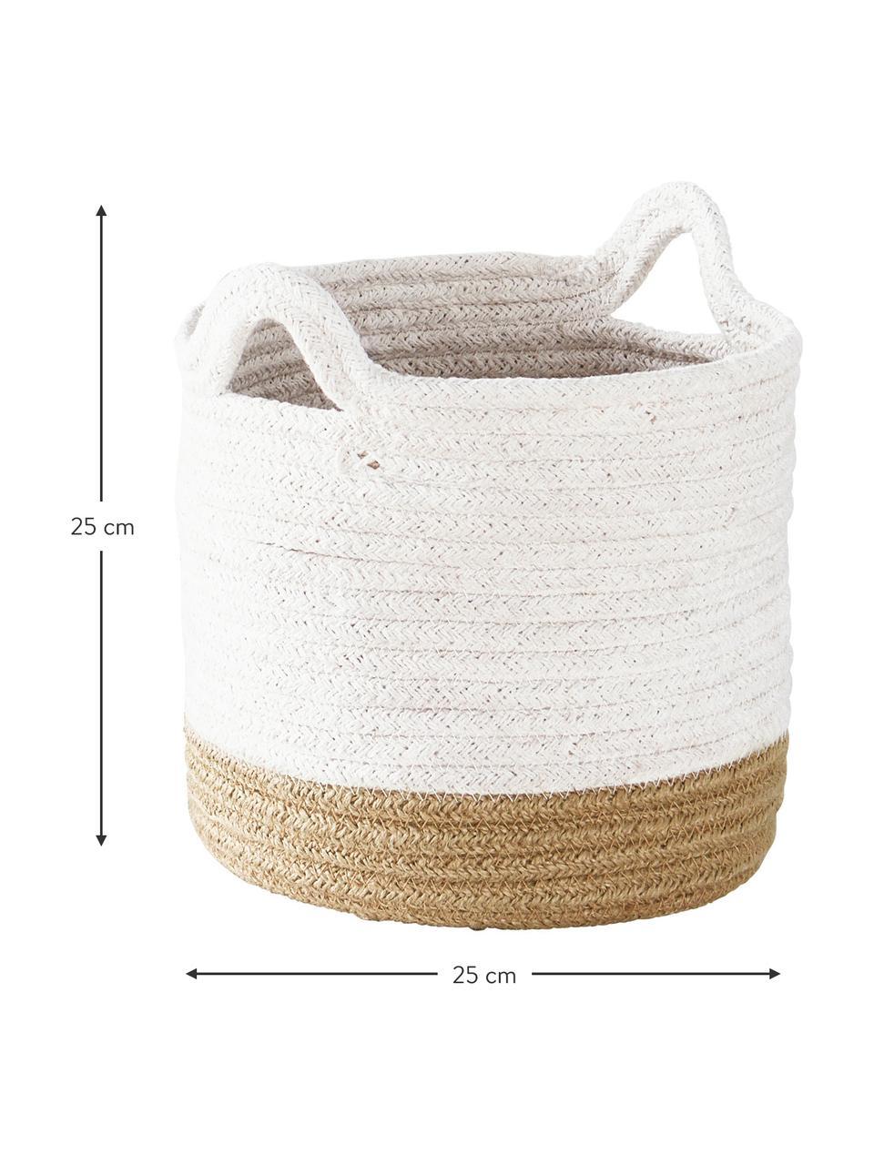 Aufbewahrungskörbe Salle, 2er-Set, 60% Baumwolle, 40% Jute, Weiß, Beige, Set mit verschiedenen Größen