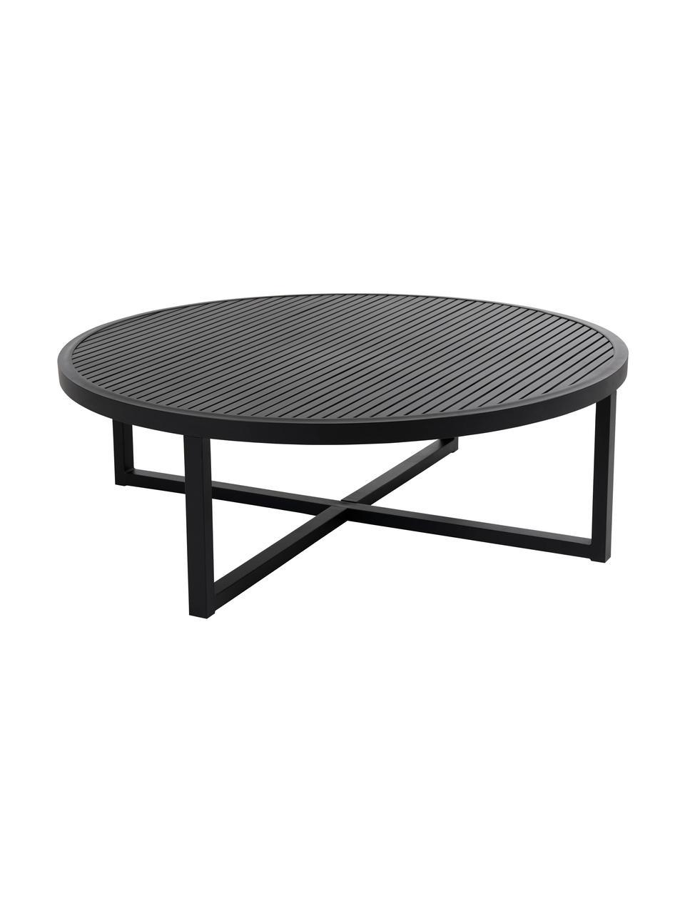 Mesa de centro para exterior Vevi, Aluminio con pintura en polvo, Negro, Ø 100 x Al 40 cm